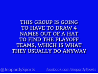 """College, College Football, and Football: THIS GROUP IS GOING  TO HAVE TO DRAW 4  NAMES OUT OF A HAT  TO FIND THE PLAYOFF  TEAMS, WHICH IS WHAT  THEY USUALLY DO ANYWAY  @JeopardySportsfacebook.com/JeopardySports """"Who are: the College Football Playoff Committee?"""" #JeopardySports #IronBowl https://t.co/Dow7xl0HFH"""