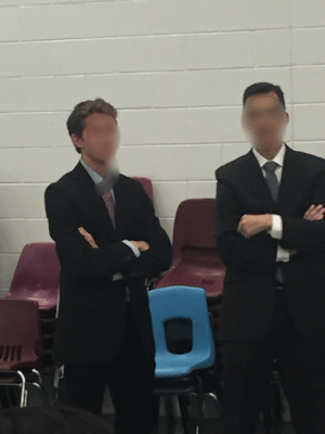 Halloween, School, and Principal: This guy at my school went as the principal for Halloween. The principal regularly walks around the lunchroom during lunch, so this guy did the same.