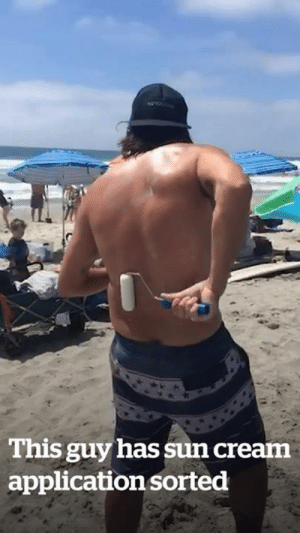 Applying suncream is now a struggle of the past! 😅😎: This guy has sun cream  application sorted Applying suncream is now a struggle of the past! 😅😎