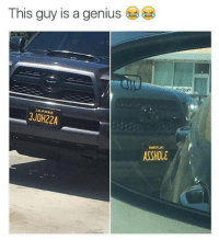 Bailey Jay, Memes, and Genius: This guy is a genius  CALIFORNI  3JOH22A  ASSHOLE 200 IQ vanity plate via /r/memes https://ift.tt/2OFTZGV