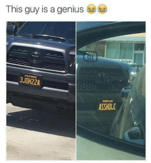 200 IQ vanity plate by DocRyan88 MORE MEMES: This guy is a genius  CALIFORNI  3JOH22A  ASSHOLE 200 IQ vanity plate by DocRyan88 MORE MEMES