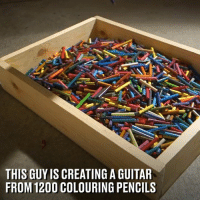 Bailey Jay, Dank, and Guitar: THIS GUY IS CREATING A GUITAR  FROM 120O COLOURING PENCILS This lad created a guitar from 1,200 coloured pencils and the end result is spectacular 👏🎸