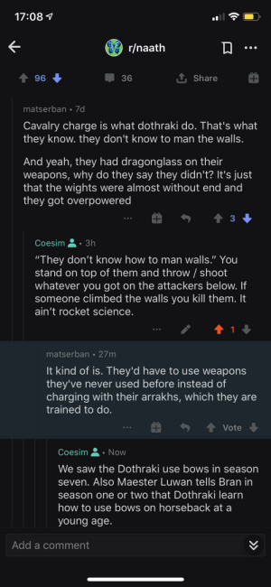 """This guy is seriously arguing that Dothraki are so mentally challenged that they can't do anything other than charging straight at the enemy on horseback. """"tHeY DoNt kNoW hOw tO mAn waLlS"""": This guy is seriously arguing that Dothraki are so mentally challenged that they can't do anything other than charging straight at the enemy on horseback. """"tHeY DoNt kNoW hOw tO mAn waLlS"""""""