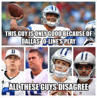 So I've seen some opposing fans clown Dak for finishing last in precision passing claiming Dallas' O-line was the main reason why he succeeded. Don't get me wrong Dallas' O-line definitely helped Dak, but that isn't the entire reason why either.  I'll just leave this here and oh three out of those 4 guys on the bottom are veterans too. Just saying   - Jeeno: THIS GUY ISONIYCOOD  DALLAS OLINES PLAY A  ALL THESE GUYS DISAGREE So I've seen some opposing fans clown Dak for finishing last in precision passing claiming Dallas' O-line was the main reason why he succeeded. Don't get me wrong Dallas' O-line definitely helped Dak, but that isn't the entire reason why either.  I'll just leave this here and oh three out of those 4 guys on the bottom are veterans too. Just saying   - Jeeno