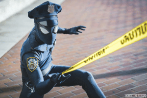 Spider, Cosplay, and Man: This guy made a SpiderCop cosplay and it rules! Part man, part spider, ALL COP!