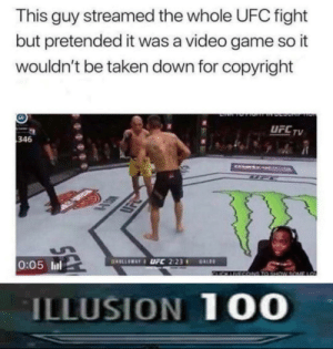 This absolute madlad: This guy streamed the whole UFC fight  but pretended it was a video game so it  wouldn't be taken down for copyright  UFCTV  346  LSK  0:05 ll  ILLUSION 10O This absolute madlad