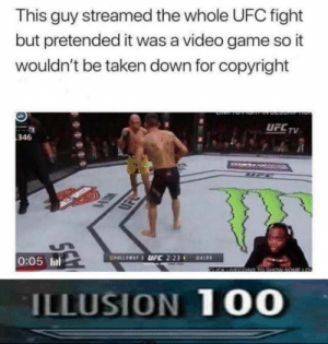 This absolute madlad #memes: This guy streamed the whole UFC fight  but pretended it was a video game so it  wouldn't be taken down for copyright  DEL TV  UFCTV  346  SD  0:05 ll  ILLUSION 10O This absolute madlad #memes