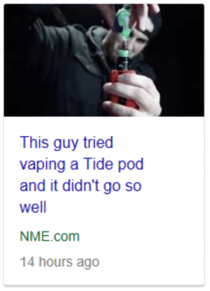 Target, Tumblr, and Blog: This guy tried  vaping a Tide pod  and it didn't go so  well  NME.com  14 hours ago disneyslocket:Gee…ya think so? Tide pod vaper very niceu