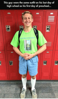 School, Pro, and High School: This guy wore the same outfit on his last day of  high school as his first day of preschoo  First Day of Pro school This guy remembers via /r/wholesomememes https://ift.tt/2wCJDjX