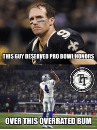 "LIKE & SHARE if you agree!  Cowboys fans will defend Dak by simply saying ""12-2"". Dak has been riding the coattails of an elite offensive line and stud running back. He's extremely overrated, like every Cowboys QB in history. Brees getting snubbed is a disgrace.   #LambeauLeaper #QuestFor14 #RodgersIsMVP: THIS GUYDESERVED PRO BOWL HONORS  NF  OVER THIS  BUM LIKE & SHARE if you agree!  Cowboys fans will defend Dak by simply saying ""12-2"". Dak has been riding the coattails of an elite offensive line and stud running back. He's extremely overrated, like every Cowboys QB in history. Brees getting snubbed is a disgrace.   #LambeauLeaper #QuestFor14 #RodgersIsMVP"