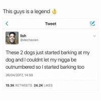 Nigga did the unthinkable..😂😂😂: This guys is a legend  Tweet  lish  IS  @dechavien  These 2 dogs just started barking at my  dog and l couldnt let my nigga be  outnumbered so l started barking too  26/04/2017, 14:58  15.3K RETWEETS 24.2K LIKES Nigga did the unthinkable..😂😂😂