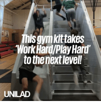 Dank, Work, and 🤖: This gymkittakes  Work Hard/Play Hard  to the next level!  UNILAD These workout stairs with a slide make for a fun and intensive workout 🏃🏃🏻‍♀️