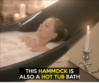Memes, Hammock, and 🤖: THIS HAMMOCK IS  ALSO A HOT TUB BATH Yes or no ??  Credit: https://vimeo.com/189133719