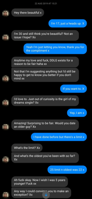 This happened last year. I turned 18 in December and blocked him as soon as I did. The age limit I put was BS by the way.: This happened last year. I turned 18 in December and blocked him as soon as I did. The age limit I put was BS by the way.