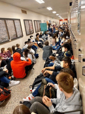 This happened two days ago in the US: students at Kennedy Catholic High School have left their classrooms and are staging a sit-in in their hallways to protest the forced resignation of two LGBT teachers. Strength in numbers.: This happened two days ago in the US: students at Kennedy Catholic High School have left their classrooms and are staging a sit-in in their hallways to protest the forced resignation of two LGBT teachers. Strength in numbers.