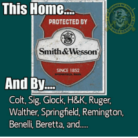 Memes, Home, and Cold: This Home  PROTECTED BY  Smith &Wesson  SINCE 1852  SPRINGFIELD, MASS.  And By  Colt, Sig, Glock, H&K, Ruger,  Walther, Springfeld, Remington,  Benelli, Beretta, and.... What can I say, I believe in diversity AND redundancy....What did I miss?  -- Cold Dead Hands 2nd Amendment gear: cdh2a.com/shop  - Metal Law