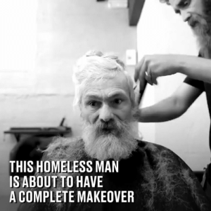 The moment when he finally sees his completed transformation is so beautiful 👏❤️: THIS HOMELESS MAN  ISABOUT TO HAVE  A COMPLETE MAKEOVER The moment when he finally sees his completed transformation is so beautiful 👏❤️