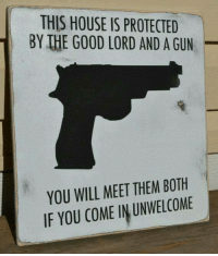 Memes, Good, and House: THIS HOUSE IS PROTECTED  1 BY IHE GOOD LORD AND A GUN  YOU WILL MEET THEMBOTH  IF YOU COME IN UNWELCOME