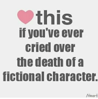I cry with almost any character that dies in any show. Derek, Lexie, mark, George, Denny, Henry, stephanie's patient boyfriend, Maggie's mom, etc. jack from titanic, Marley from Marley & me. Jenny from Forrest Gump, Noah & Rachel from the notebook, the dog from old yeller, Jeff from 13rw, Bruh I can go on for years greysanatomy: this  if you've ever  cried over  the death of a  fictional Character.  /Heart I cry with almost any character that dies in any show. Derek, Lexie, mark, George, Denny, Henry, stephanie's patient boyfriend, Maggie's mom, etc. jack from titanic, Marley from Marley & me. Jenny from Forrest Gump, Noah & Rachel from the notebook, the dog from old yeller, Jeff from 13rw, Bruh I can go on for years greysanatomy