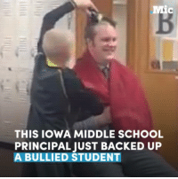 This middle school principal just backed up a bullied student by getting his own head shaved.: THIS IOWA MIDDLE SCHOOL  PRINCIPAL JUST BACKED UP  A BULLIED STUDENT This middle school principal just backed up a bullied student by getting his own head shaved.