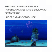 Bad, Dude, and Omg: THIS IS A CURSED IMAGE FROM A  PARALLEL UNIVERSE WHERE SQUIDWARD  DOESN'T EXIST  LIKE OR 3 YEARS OF BAD LUCK school is so draining omg dude wtf