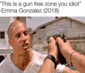 "JamesCeption: This is a gun free zone you idiot""  Emma Gonzalez (2018) JamesCeption"