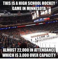 Hockey, Memes, and Minnesota: THIS IS A HIGH SCHOOL HOCKEY  9ic  ALMOST 22,000 IN ATTENDANCE  WHICH IS 3,000 OVER CAPACITY State of Hockey reppin! Better attendance than a Coyotes game 😂 minnesotawild minnesota nhl hockey