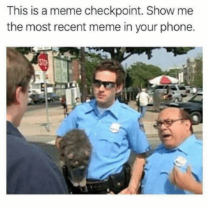 Apple, Dank, and Meme: This is a meme checkpoint. Show me  the most recent meme in your phone. This is a Meme Checkpoint. You know what to do. For more fun meme checkpoints - check out our app https://apple.co/2HtG8Ek