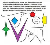 Dank Memes, Universe, and Entropy: this is a meme from the future. you dont understand the  reference except you do now because it's a meme in the  present. now it's a meme from the past becuase of the flow of  time and the ceaseless entropy enveloping the universe as we  know it. existence is meaningless. death comes for us all.