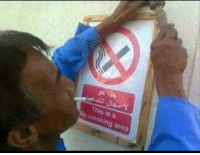 Facepalm, Preach, and Smoking: This is a  No smoking area