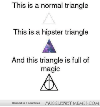 "Hipster, Memes, and Http: This is a normal triangle  This is a hipster triangle  And this triangle is full of  magic  Banned in 0 countries  MUGGLENET MEMES.COM <p>Truer words were never spoken. <a href=""http://ift.tt/VPvoDD"">http://ift.tt/VPvoDD</a></p>"