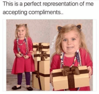 Introvert, Struggle, and This: This is a perfect representation of me  accepting compliments.. Anyone else struggle with this? 😂 #introvert #introvertlife #introvertproblems