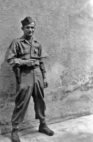 This is a picture of my Uncle Pete, whom I'd never known. It was taken in Germany on June 6, 1945, according to the handwritten note on the back. Based on what's seen here, can anyone tell me anything about him?: This is a picture of my Uncle Pete, whom I'd never known. It was taken in Germany on June 6, 1945, according to the handwritten note on the back. Based on what's seen here, can anyone tell me anything about him?