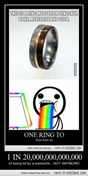 1 In 20,000,000,000,000http://omg-humor.tumblr.com: THIS IS A RING MADE FROM DINOSAUR  BONE, METEORITE AND GOLD.  ONE RING TO  Rule them all  TASTE OF AWESOME.COM  Hitler hated this site too  1 IN 20,000,000,000,000  of being hit by a meteorite... NOT ANYMORE!  TASTE OF AWESOME.COM  Hitler hated this site too  VIA SGAG.COM 1 In 20,000,000,000,000http://omg-humor.tumblr.com
