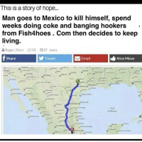 Cats, Dank, and Funny: This is a story of hope.  Man goes to Mexico to kill himself, spend  weeks doing coke and banging hookers  from Fish4hoes . Com then decides to keep  living  Roger Dorn 945  21 sours  Share  Tweet  Email  Nice Move  Guf  Mexxco Big boy life I'm tryna live @larnite • ➫➫➫ Follow @Staggering for more funny posts daily! • (Ignore: memes dank funny cats insta love me goals happy love twitter)