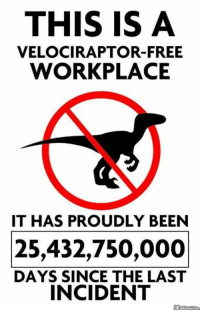 And we intend to keep our page this way.  -KZ: THIS IS A  VELOCIRAPTOR-FREE  WORKPLACE  IT HAS PROUDLY BEEN  25,432,750,000  DAYS SINCE THE LAST  INCIDENT And we intend to keep our page this way.  -KZ