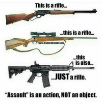 """You can disregard all the adjectives and colorful descriptions. A rifle is a rifle is a rifle, PERIOD. """"Assault"""" is an action, a behavior. """"Modern Sporting"""" is an activity. """"Modern Musket"""" is colorful and makes a statement, but... in the end, it's still just a rifle. Jon Britton aka DoubleTap: This is arifle...  this is a rifle...  www.ModemMusketcom  ...this  is also...  JUSTarifle.  """"Assault is an action, NOT an object. You can disregard all the adjectives and colorful descriptions. A rifle is a rifle is a rifle, PERIOD. """"Assault"""" is an action, a behavior. """"Modern Sporting"""" is an activity. """"Modern Musket"""" is colorful and makes a statement, but... in the end, it's still just a rifle. Jon Britton aka DoubleTap"""