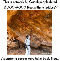 Africa, Animals, and Apparently: This is artwork by Somali people dated  3000-9000 Bce, with no ladders?  @chakabars  Apparently people were taller back then... Somali: Laas Geel are cave formations on the rural outskirts of Hargeisa. They contain some of the earliest known cave paintings in the Horn of Africa. Laas Geel's rock art is estimated to date to somewhere between 9,000 and 3,000 years BC. The Laas Geel cave paintings are thought to be some of the most vivid rock art in Africa. Among other things, they depict cattle in ceremonial robes accompanied by humans, who are believed to have been inhabitants of the region. The necks of the cattle are embellished with a kind of plastron. Some of the cattle are also portrayed wearing decorative robes. Besides long-horned cattle, the rock art also shows an image of a domesticated dog, several paintings of canidae as well as a giraffe. The guides were adamant that people used to be taller thousands of years ago, and that no ladders we used. Also that some animals used to be sacred. I can't prove or disprove that there used to be giants, but it was definitely interesting to visit :)