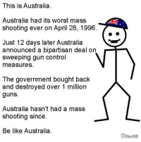 Be Like, Guns, and Memes: This is Australia.  Australia had its worst mass  shooting ever on April 28, 1996.  Just 12 days later Australia  announced a bipartisan deal on  sweeping gun control  measures  The government bought back  and destroyed over 1 milliorn  guns.  Australia hasn't had a mass  shooting since.  Be like Australia.  ther98 Be Like Australia