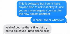 This Is Awkward: This is awkward but I don't have  anyone else to ask is it okay if I use  you as my emergency contact for  the new accom contract  In case I die or whatever  yeah of course that's fine but try  not to die cause i hate phone calls