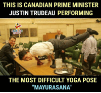 "#JustinTrudeau #Mayurasana: THIS IS CANADIAN PRIME MINISTER  JUSTIN TRUDEAU PERFORMING  AUGHINCO  THE MOST DIFFICULT YOGA POSE  ""MAYURASANA"" #JustinTrudeau #Mayurasana"
