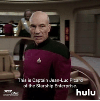 picard: This is Captain Jean-Luc Picard  of the Starship Enterprise.  hulu  Sian  IMCA  THE NEXT GENERATION