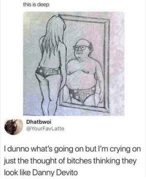 Crying, Dank, and Memes: this is deep  Dhatbwoi  @YourFavLatte  I dunno what's going on but I'm crying on  just the thought of bitches thinking they  look like Danny Devito Everyone wants to be him. by tearing-me-apartLisa MORE MEMES