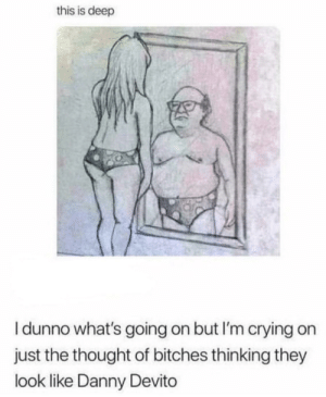 Crying, Dank, and Memes: this is deep  I dunno what's going on but I'm crying on  just the thought of bitches thinking they  look like Danny Devito This Is Deep by bobsburger900 MORE MEMES