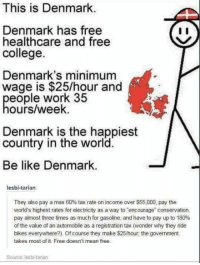 "Pay Up: This is Denmark  Denmark has free  healthcare and free  college.  Denmark's minimum  wage is $25/hour and  eople work 35  ours/week.  Denmark is the happiest  country in the world.  Be like Denmark  lesbi-tarian:  They also pay a max 60% tax rate on income over $55,000, pay the  world's highest rates for electricity as a way to encourage"" conservation,  pay almost three times as much for gasoline, and have to pay up to 180%  of the value of an automobile as a registration tax (wonder why they ride  bikes everywhere?). Of course they make $25/hour; the govemment  takes most of it. Free doesnt mean free.  Source: lesbi-tarian"