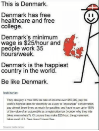 "Be Like, College, and Memes: This is Denmark  Denmark has free  healthcare and free  college.  Denmark's minimum  wage is $25/hour and  eople work 35  ours/week.  Denmark is the happiest  country in the world.  Be like Denmark.  lesbi-tarian:  They also pay a max 60% tax rate on income over $55,000, pay the  world's highest rates for electricity as a way to encourage"" conservation,  pay almost three times as much for gasoline, and have to pay up to 180%  of the value of an automobile as a registration tax (wonder why they ride  bikes everywhere?). Of course they make $25/hour, the government  takes most of it Free doesn't mean free.  Source: lesbi-tarian (GC)"