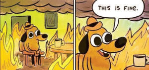 Dank, Life, and Memes: THIS IS FINe.  OC People keep talking about politics while Im thinking about the futility of life by reddidetective MORE MEMES