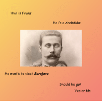 Dank, Nice, and 🤖: This is Franz  He want's to viset Sarajevo  He is a Archduke  Should he go?  yes or No i think he should go, it could be a nice trip
