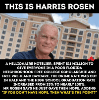 """cut in half: THIS IS HARRIS ROSEN  A MILLIONAIRE HOTELIER, SPENT $11 MILLION TO  GIVE EVERYONE IN A POOR FLORIDA  NEIGHBORHOOD FREE COLLEGE SCHOLARSHIP AND  FREE PRE-K AND DAYCARE. THE CRIME RATE WAS CUT  IN HALF AND THE HIGH SCHOOL GRADUATION RATE  INCREASED FROM 25% TO NEARLY 100%.  MR ROSEN SAYS HE JUST GAVE THEM HOPE. ADDING  """"IF YOU DON'T H VE HOPE, THEN WHAT'S THE POINT?"""""""