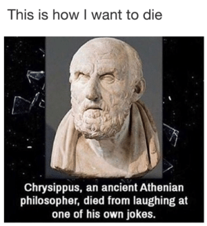 Died From: This is how I want to die  Chrysippus, an ancient Athenian  philosopher, died from laughing at  one of his own jokes.